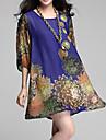 Dame Casul/Zilnic Plus Size Rochie-Floral ½ Lungime Manșon Mini Albastru Roșu Negru Vară Inelastic Subțire