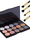 15 couleurs de maquillage professionnel chaude nue fard a paupieres perle chatoyante de lumiere palette a fard + 4pcs crayon pinceau de