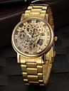 Heren Skeleton horloge Polshorloge Kwarts Roestvrij staal Goud Hol Gegraveerd Analoog Amulet - Gouden