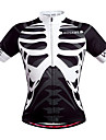 WOSAWE Homme Manches Courtes Maillot de Cyclisme - Noir / Blanc Cranes Velo Maillot, Sechage rapide, Respirable, Anti-transpiration