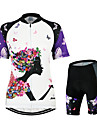 Arsuxeo Dam Kortärmad Cykeltröja med shorts - Vit/Svart Blommig/Botanisk Cykel Klädesset, 3D Tablett, Snabb tork, Anatomisk design,