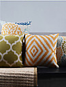 4 pcs classique pays geometrique carre coton / lin taie d\'oreiller avec fermeture a glissiere