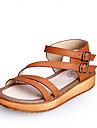 Pantofi pentru femei - Imitație de Piele - Toc Plat - Confortabili / Vârf Deschis - Sandale - Casual - Negru / Maro / Alb