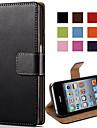 elegant etui en cuir PU pour iPhone conception du stand 4 / 4s flip etui arriere portefeuille avec fente pour carte