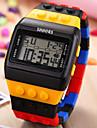 Bărbați Ceas de Mână Ceas Lemn Ceas digital Piloane de Menținut Carnea LCD Calendar Cronograf alarmă Ceas Sport Plastic Bandă Multicolor