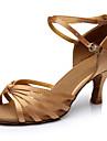 Kadın\'s İpek Latin Dans Ayakkabıları Topuklular Küba Topuk Kişiselleştirilmiş Mavi / Leopar / Çıplak / Performans / Deri