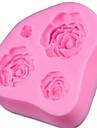 1 st tre hål ros design silikon diy tårta mögel bakeware