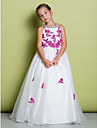 A-Line Floor Length Flower Girl Dress - Organza Sleeveless Jewel Neck with Beading Appliques by LAN TING BRIDE®