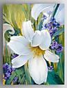 HANDMÅLAD Blommig/Botanisk Vertikal,Moderna En panel Kanvas Hang målad oljemålning For Hem-dekoration