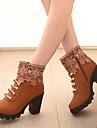 Pantofi pentru femei - Piele de Căprioară - Toc Gros - Confortabili / Vârf Rotund / Vârf Inchis - Cizme - Rochie / Casual - Negru / Galbem