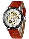 Bărbați Ceas de Mână ceas mecanic Mecanism automat Gravură scobită PU Bandă Luxos Maro Maro