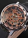 WINNER Bărbați Ceas de Mână ceas mecanic Mecanism automat Gravură scobită PU Bandă Luxos Negru Alb Negru Rosu Bronz