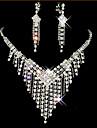Franjuri / Lung Set bijuterii - Zirconiu Cubic, Diamante Artificiale Ciucure, Petrecere Include Alb Pentru / Σκουλαρίκια / Coliere