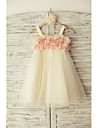 Sheath / Column Knee Length Flower Girl Dress - Tulle Sleeveless Straps with Flower by LAN TING Express