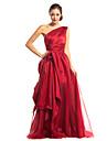 Linia -A Pe Umăr Lungime Podea Organza Satin Bal Seară Formală Rochie cu Drapat Părți de TS Couture®