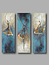 Oil Painting Hand Painted - Abstract Abstract Portrait Modern Stretched Canvas / Three Panels