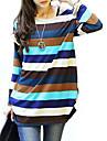 Femei În X Tricou Casul/Zilnic Simplu(ă),Dungi Manșon Lung Primăvară / Toamnă / Iarnă-Multi-color Mediu Bumbac / Altele