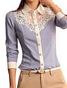 女性用 レース シャツ シャツカラー ソリッド ブルー & ホワイト
