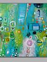 HANDMÅLAD Abstrakt Fyrkantig, Stil Duk Hang målad oljemålning Hem-dekoration En panel