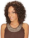 Syntetiskt hår peruker Lockigt Afro-amerikansk peruk Mittbena Utan lock Naturlig peruk Mellan Brun