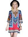Per donna Moderno Seta Largo Pantaloni - Multicolor Con stampe Blu / Per eventi