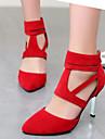 Pentru femei Pantofi Catifea Primăvară Vară Toc Stilat Fermoar Decupat pentru Casual Birou și carieră Rochie Negru Rosu Migdală