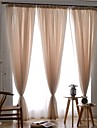 Rod Pocket Grommet Top Tab Top Double Pleat Pencil Pleat Two Panels Curtain European, Jacquard Solid Bedroom Polyester Material Sheer