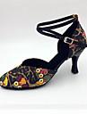 Dam Latinamerikansk Moderna Samba Konstläder Sandaler Högklackade Inomhus Prestanda Professionella Nybörjare Träning Stilettklack Svart 2