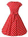 Pentru femei Ieșire Vintage Bumbac Linie A Rochie - Imprimeu, Buline Bateau Lungime Genunchi Roșu