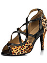 Pentru femei Pantofi Dans Latin / Pantofi Salsa Imitație de Piele / Satin Sandale / Călcâi Interior / Performanță / Profesional Cataramă