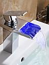 Badkarskran - Vattenfall LED Krom Väggmonterad Ett hål