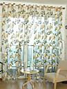 Stångficka Hyls-topp En panel Fönster Behandling Land , Jacquard Vardagsrum Polyester Material Skira Gardiner Shades Hem-dekoration
