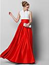 A-Şekilli Yüksek Yaka Yere Kadar Dantelalar / Saten Düğme / Dantel ile Balo / Resmi Akşam Elbise tarafından TS Couture® / Zıt Renkler