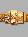 HANDMÅLAD Blommig/Botanisk vilken form som helst, Moderna Duk Hang målad oljemålning Hem-dekoration Fem paneler