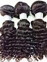 Äkta hår Brasilianskt hår Human Hår vävar Lockigt Hårförlängningar 3 delar Svart