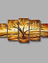 Pictat manual Abstract / Peisaj / Peisaje Abstracte Modern Cinci Panouri Canava Hang-pictate pictură în ulei For Pagina de decorare