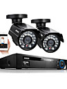 annke® 4ch 2pcs 960H hdmi dvr 800tvl camera CCTV intemperies outdoor 24 leds kits de surveillance du systeme de securite a domicile ir