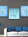 Blommig/Botanisk Klassisk, Tre paneler Duk Fyrkantig Tryck väggdekor Hem-dekoration