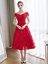 A-line off-the-shoulder ceai dantelă lungime dantelă satin rochie de dans cu dantelă