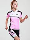 Mysenlan Dam Kortärmad Cykeltröja med shorts - Rosa Cykel Klädesset, Snabb tork, UV-Resistent, Andningsfunktion