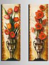 Floral/Botanic Clasic, Două Panouri pânză Vertical Imprimeu Decor de perete Pagina de decorare