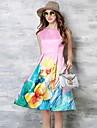 Femei Casul/Zilnic / Plus Size Simplu(ă) / Șic Stradă Teacă Rochie-Floral Fără manșon Rotund Lungime Genunchi Roz Poliester Vară