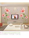 Romance Mode Floral Stickers muraux Autocollants avion Autocollants muraux decoratifs, PVC Decoration d\'interieur Calque Mural Mur