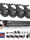 sannce® 4ch ahd dvr 4pcs 720p ir etanche exterieure camera de surveillance de securite a la maison kits de surveillance de securite systeme cctv