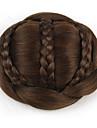 Kastanj brunt Klassisk Chic och modern Hårknut updo Hög kvalitet Chinjonger Syntetiskt hår Hårstycke HÅRFÖRLÄNGNING Klassisk Chic och