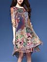 Damă Casul/Zilnic Plus Size Chinoiserie Larg Șifon Rochie-Floral Imprimeu Manșon Jumate Rotund Lungime Genunchi Nailon Primăvară Talie