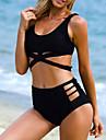 Dame Poliester Push-up Cu Susținere,Bikini Solid În Cruce Elimina Solid