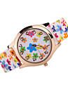 Pentru femei Ceas La Modă Quartz Quartz Japonez Ceas Casual Silicon Bandă Floare Negru Alb Maro Multicolor