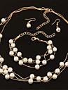 Pentru femei Perle În Straturi Set bijuterii - Perle Modă, Elegant, de Mireasă Include Cercei Picătură / Lănțișoare / Κολιέ με Πέρλες Argintiu / Auriu Pentru Nuntă / Petrecere / Zilnic / Σκουλαρίκια