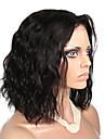 Obehandlat Hel-spets Spetsfront Peruk Brasilianskt hår Naturligt vågigt 130% Densitet Afro-amerikansk peruk Mittbena Korta Dam Äkta